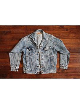 Levis Denim Jacket Vintage Faded Grunge Acid Washed Jean Jacket Coat Small Levis Strauss by Etsy