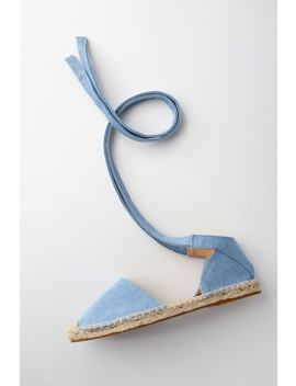 Dashiell Light Blue Denim Lace Up Espadrille Flats by Lulu's