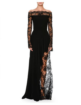Off The Shoulder Lace Illusion Column Evening Gown by Alexander Mc Queen