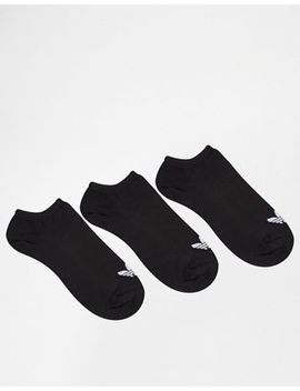 Adidas Originals 3 Pack Black Trefoil Liner Socks by Adidas