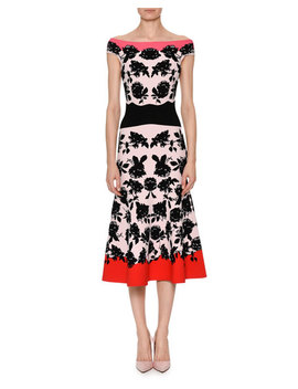 Off The Shoulder Rose Jacquard Fitted Midi Cocktail Dress by Alexander Mc Queen