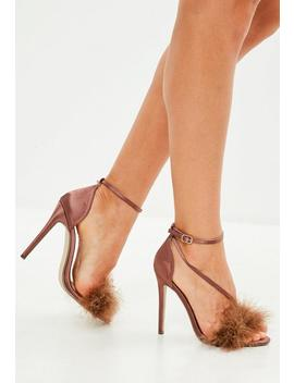 Bronze Feather Asymmetric Barely There Heels by Missguided