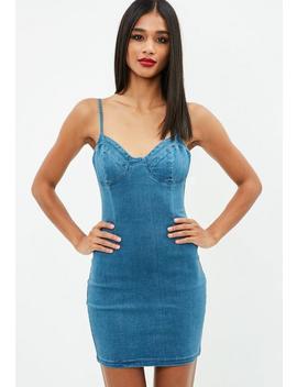 Blue Strappy Denim Mini Dress by Missguided