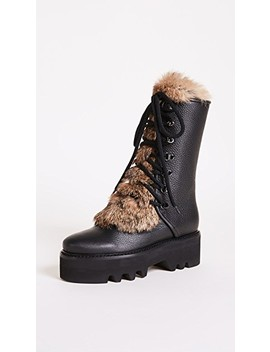 Tall Fur Combat Boots by Steiger