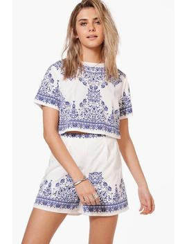 Betsy Woven Printed Placement Print Crop & Short Co Ord by Boohoo