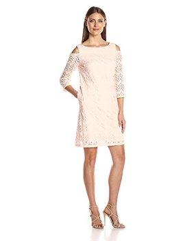 Sandra Darren Women's 1 Pc Cold Shoulder Long Sleeve Lace Shift Dress by Sandra Darren