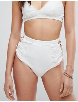 Asos Premium Lace Applique Strappy High Waist Bikini Bottom by Asos Collection