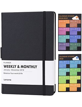 "Planner 2018 With Pen Holder  Academic Weekly, Monthly And Yearly Planner. Thick Paper To Achieve Your Goals & Improve Productivity, 5.75"" X 8.25"", Inner Pocket With 58 Bonus Notes Pages   Lemome by Lemome"