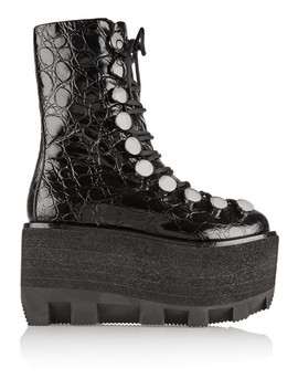 Croc Effect Leather Platform Boots by Alexander Wang