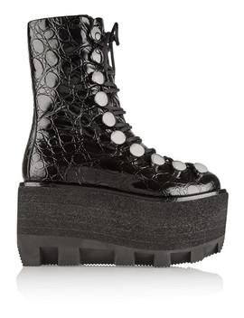Croc Effect Leather Platform Boots by Alexander Wang