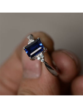 Women 925 Silver Gift Sapphire Wedding Engagement Birthday Party Ring Sz7 by Unbranded