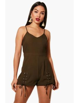 Jasmine Lace Up Detail Playsuit by Boohoo