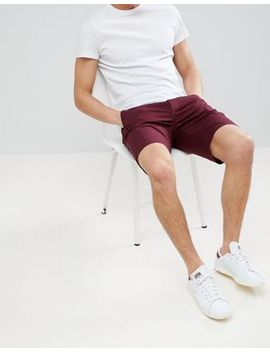 Asos Design Slim Chino Shorts In Burgundy by Asos
