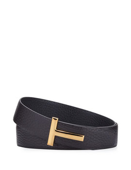 T Buckle Leather Belt by Tom Ford