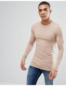 Asos Design Longline Muscle Fit T Shirt With Long Sleeves by Asos