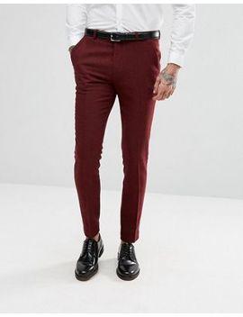 Asos Wedding Super Skinny Suit Trousers In Wine Herringbone by Asos