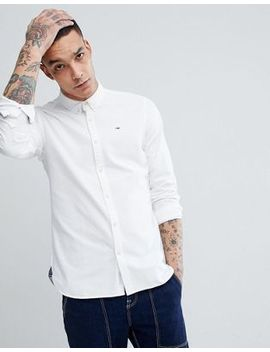 Tommy Jeans Button Down Collar Regular Fit Basic Flag Logo Oxford Shirt In White by Hilfiger Denim