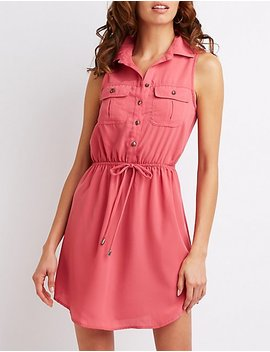 Sleeveless Button Up Shirt Dress by Charlotte Russe