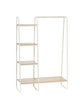 Iris Metal Garment Rack With Wood Shelves, White And Light Brown by Iris Usa, Inc.