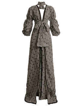 Smocked Gingham Lace Trimmed V Neck Gown by Jonathan Simkhai