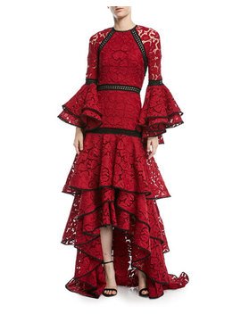 Laurel Long Sleeve Tiered Lace Evening Gown by Alexis