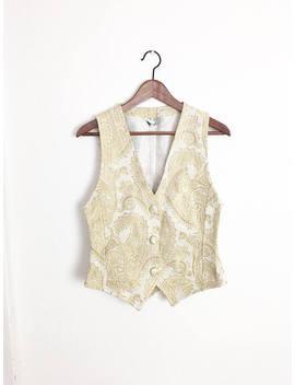 Gold And White Brocade Vest | Golden Shiny Waistcoat | Gold Shimmer Blazer Vest by Etsy