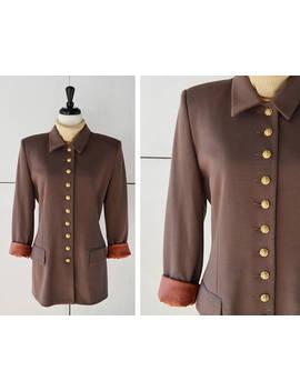 80s (M/L) Oleg Cassini Brown Blazer | Vintage Womens Suit Jacket | 1980s Womens Clothing by Etsy