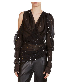 Dresden Strass Detail Sheer Wrap Top by Magda Butrym