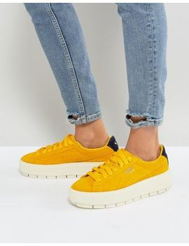 Puma Platform Trace Trainers In Yellow by Puma