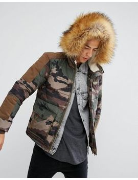 Illegal Club Puffer Jacket In Camo With Faux Fur Hood by Illegal Club