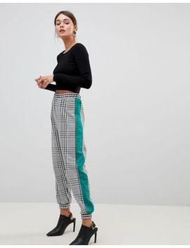 Asos Design Jogger In Check With Side Stripe by Asos Design