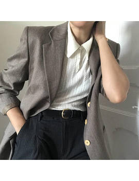 90's Oversize Dusty Brown Wool Blazer With Shoulder Pads And Pockets by Etsy