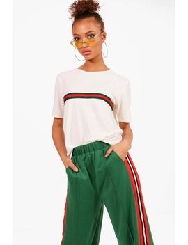 Emma Sports Stripe Placement T Shirt by Boohoo