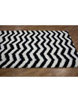 Nu Loom Bobo Shag Collection Chevron Shags Contemporary Solid And Striped Machine Made Area Rug, 8 Feet By 10 Feet, Black And White by Nu Loom