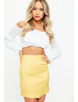 Yellow Gingham Print Scuba Mini Skirt by Missguided