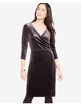 Petite Velvet Faux Wrap Dress by Ann Taylor