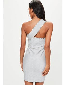 Grey Bandage Studded One Shoulder Bodycon Dress by Missguided