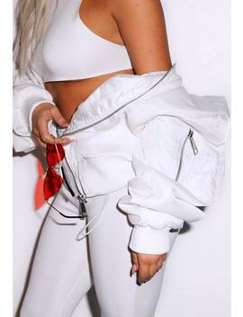 Fanny Lyckman X Missguided White Oversized Hooded Bomber Jacket by Missguided