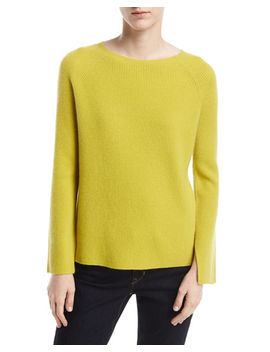 Long Split Sleeve Crewneck Ribbed Cashmere Sweater by Neiman Marcus