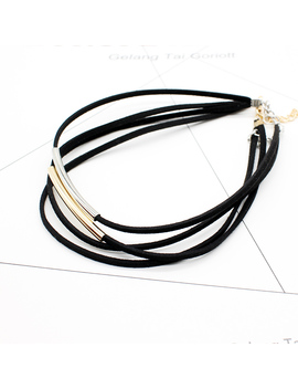 2017 New Fashion Bending Tube Velvet Choker Necklace Double Layer Style Torque Black Short Leather Necklace Charm Collier Femme by Hmixn Official Store