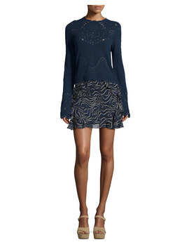 Ruffled Silk Mini Skirt, Navy by Neiman Marcus
