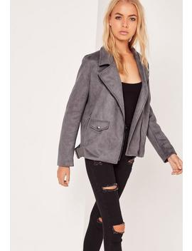 Faux Suede Bonded Biker Jacket Dark Grey by Missguided