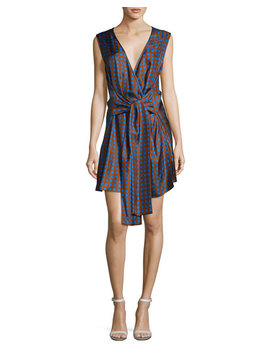 Crossover Sleeveless Tie Front Silk Dress, Multi by Diane Von Furstenberg