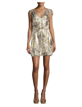 The Follow Me Metallic Floral Dress, Gold Multicolor by Neiman Marcus