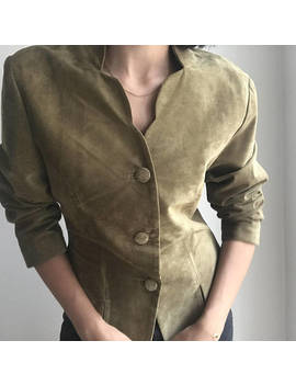 80's Vintage Leather Olive Blazer/Jacket With Collar Detail And Round Buttons by Etsy
