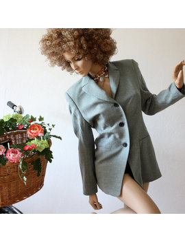 Vintage 70s  Wool Coat Jacket Blazer Steel Blue Color Womens Size 36 by Etsy