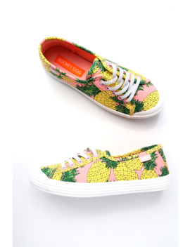Chowchow Pink Pineapple Print Sneakers by Rocket Dog