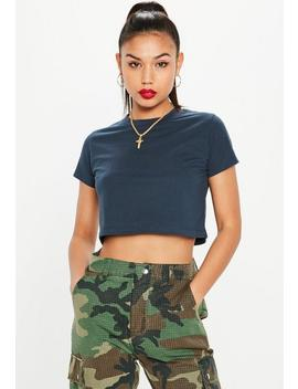 Navy Cap Sleeve Crop Top by Missguided