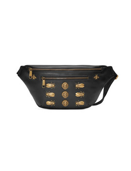 Leather Belt Bag With Animal Studs by Gucci