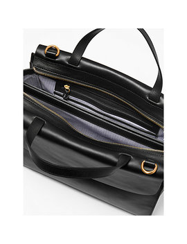 John Lewis Rosa Leather Work Tote Bag, Black by John Lewis